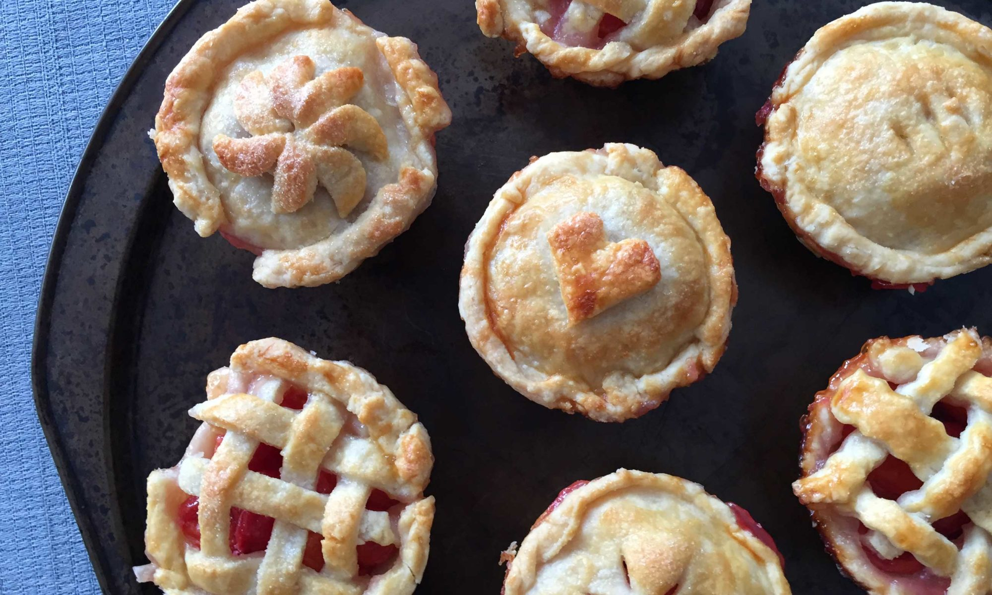 The mini sour cherry pies fresh from the oven