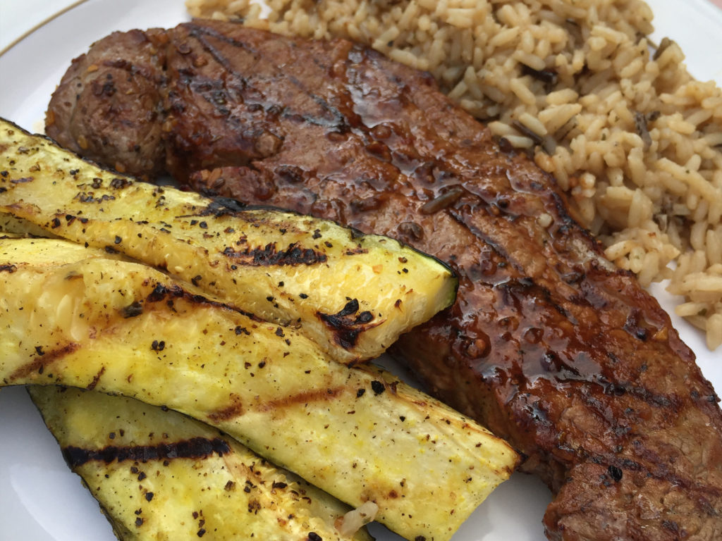 Grilled zucchini and steak