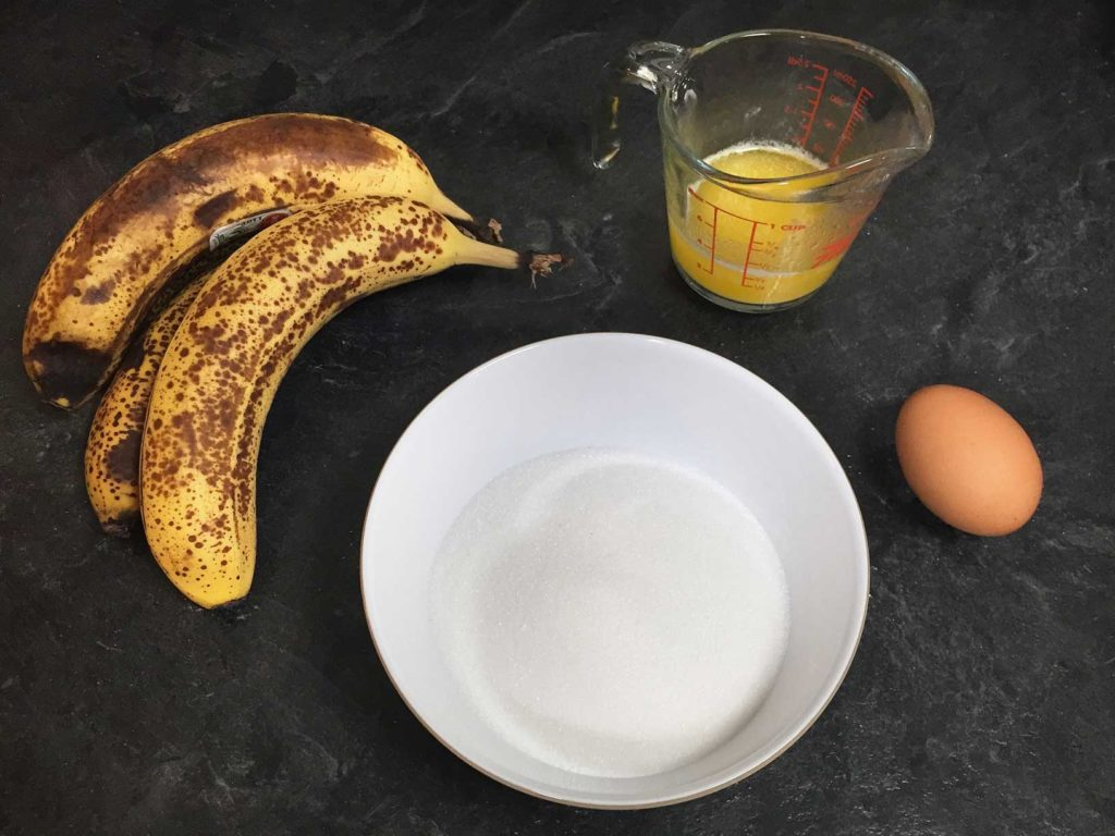 Banana bread ingredients on the counter