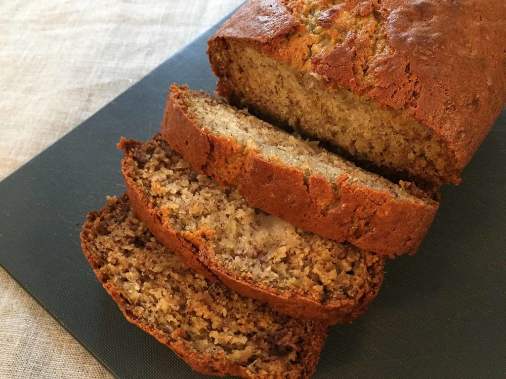 Close up of banana bread cut into slices