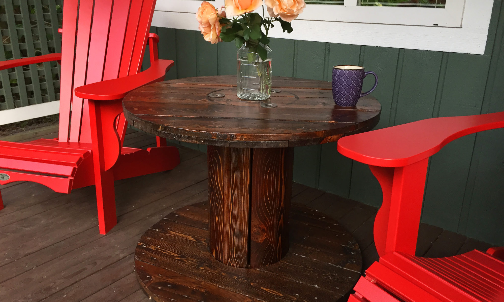 Finished cable spool patio table