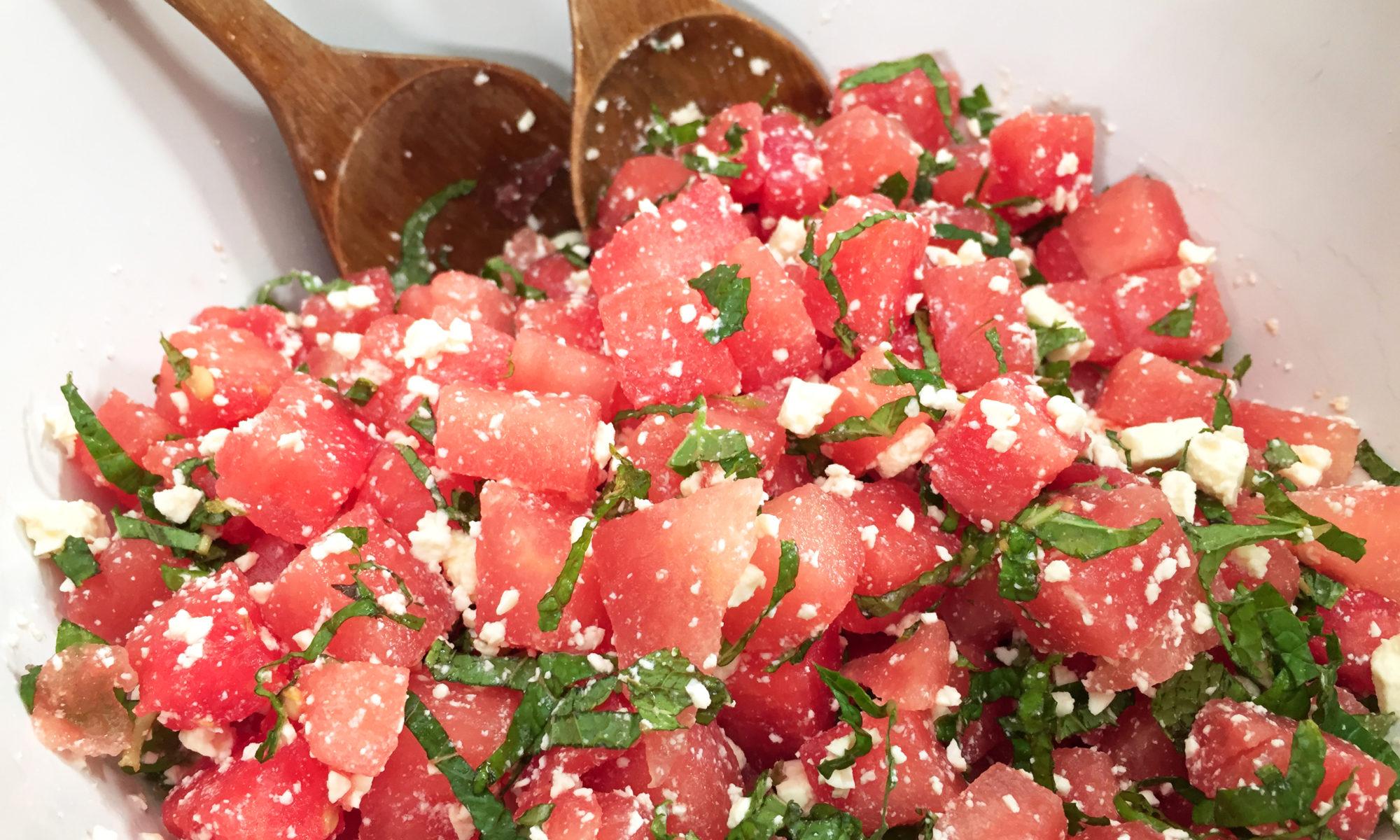 close up of watermelon feta mint salad