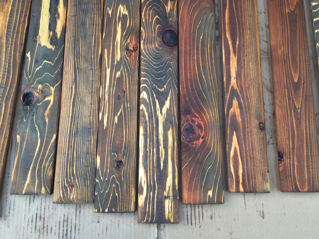 stained vertical boards