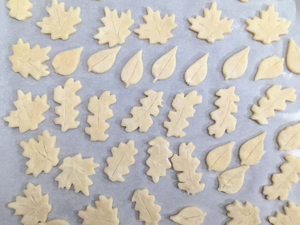 leaf shaped dough cut outs
