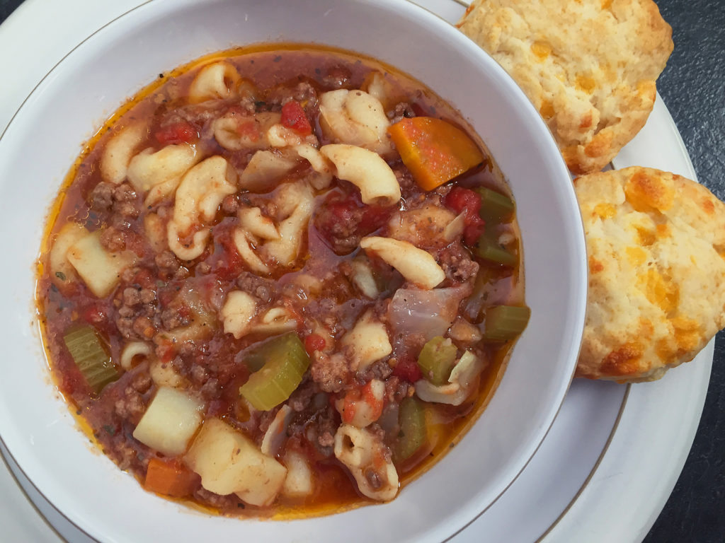 hamburger soup and cheese biscuits