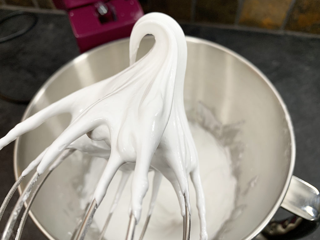 meringue whipped to stiff peaks