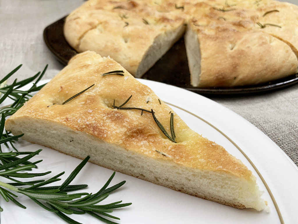 slice of focaccia fresh from the oven