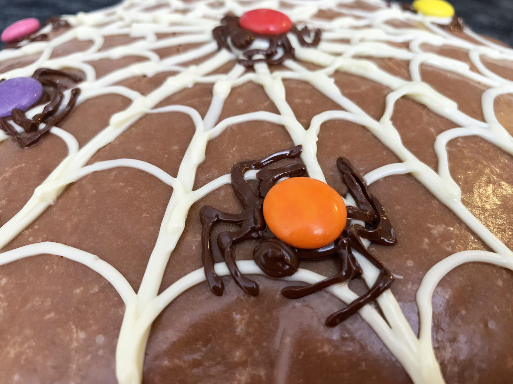 close up detail of a spider on the cake
