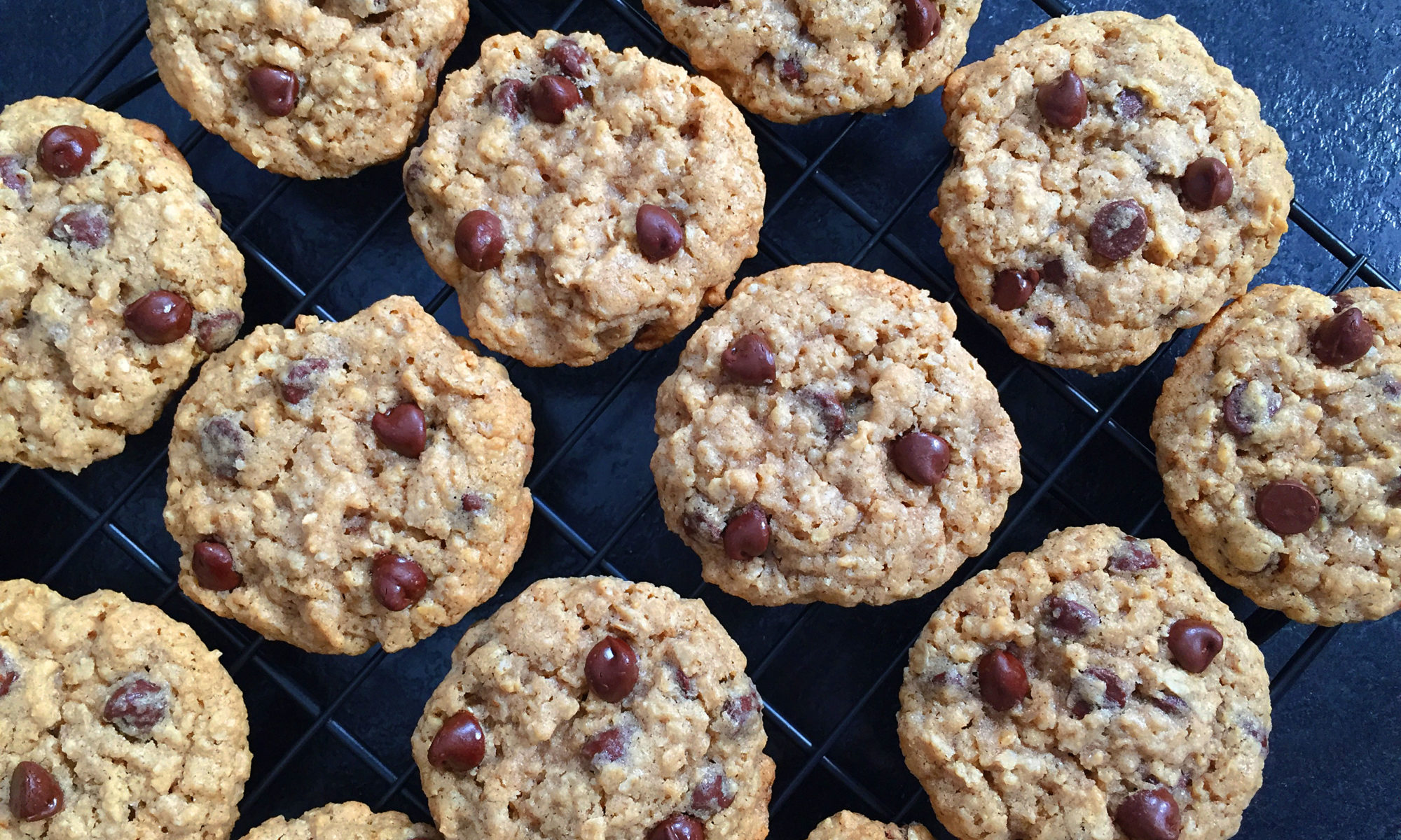 fresh baked chocolate chip oatmeal cookies