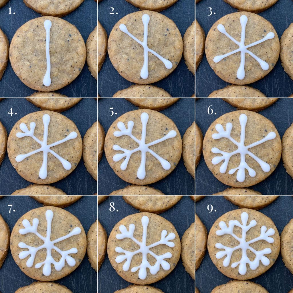 step by step on how to pipe the snowflake shape