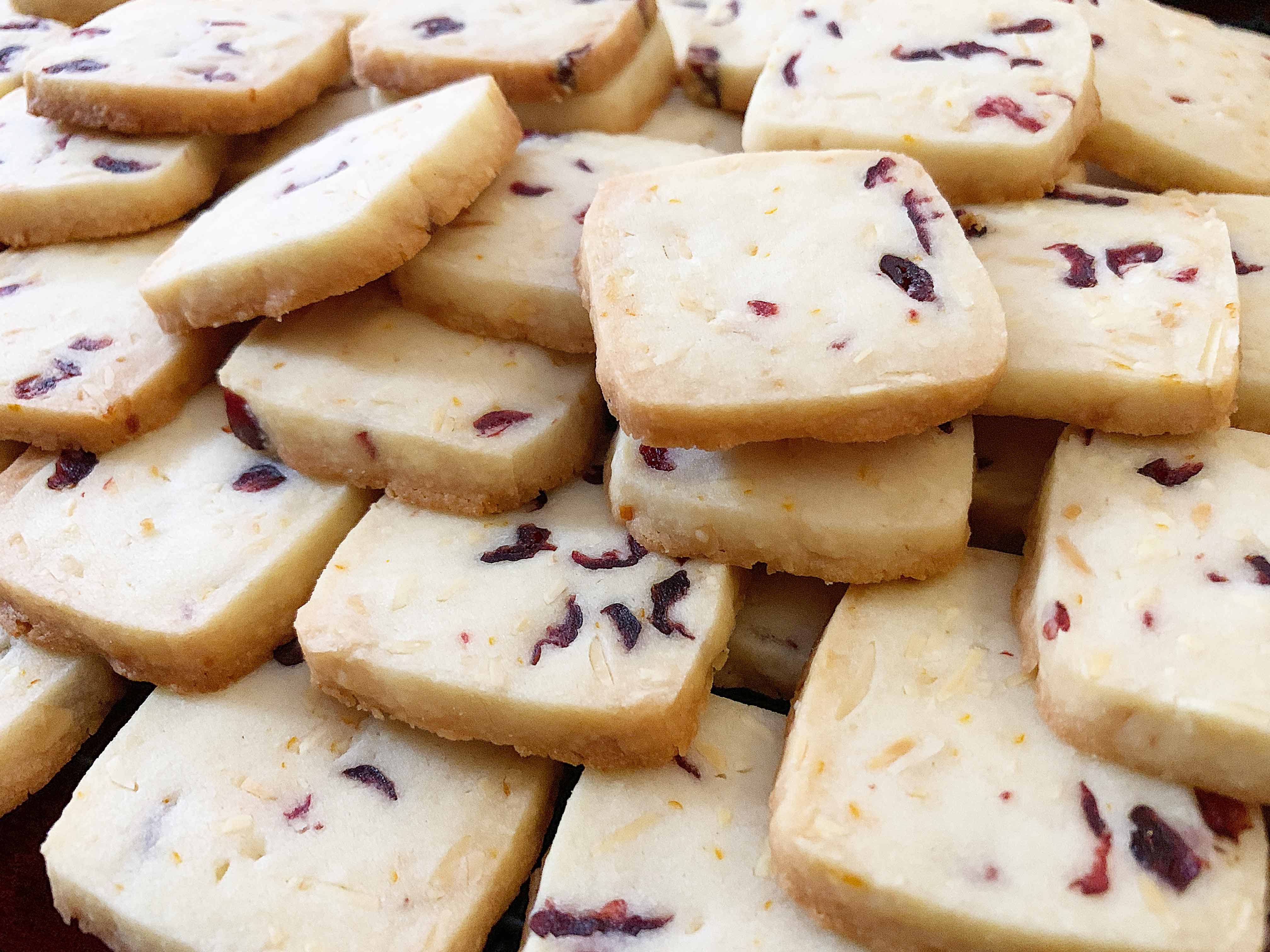 pile of cranberry almond shortbread cookies