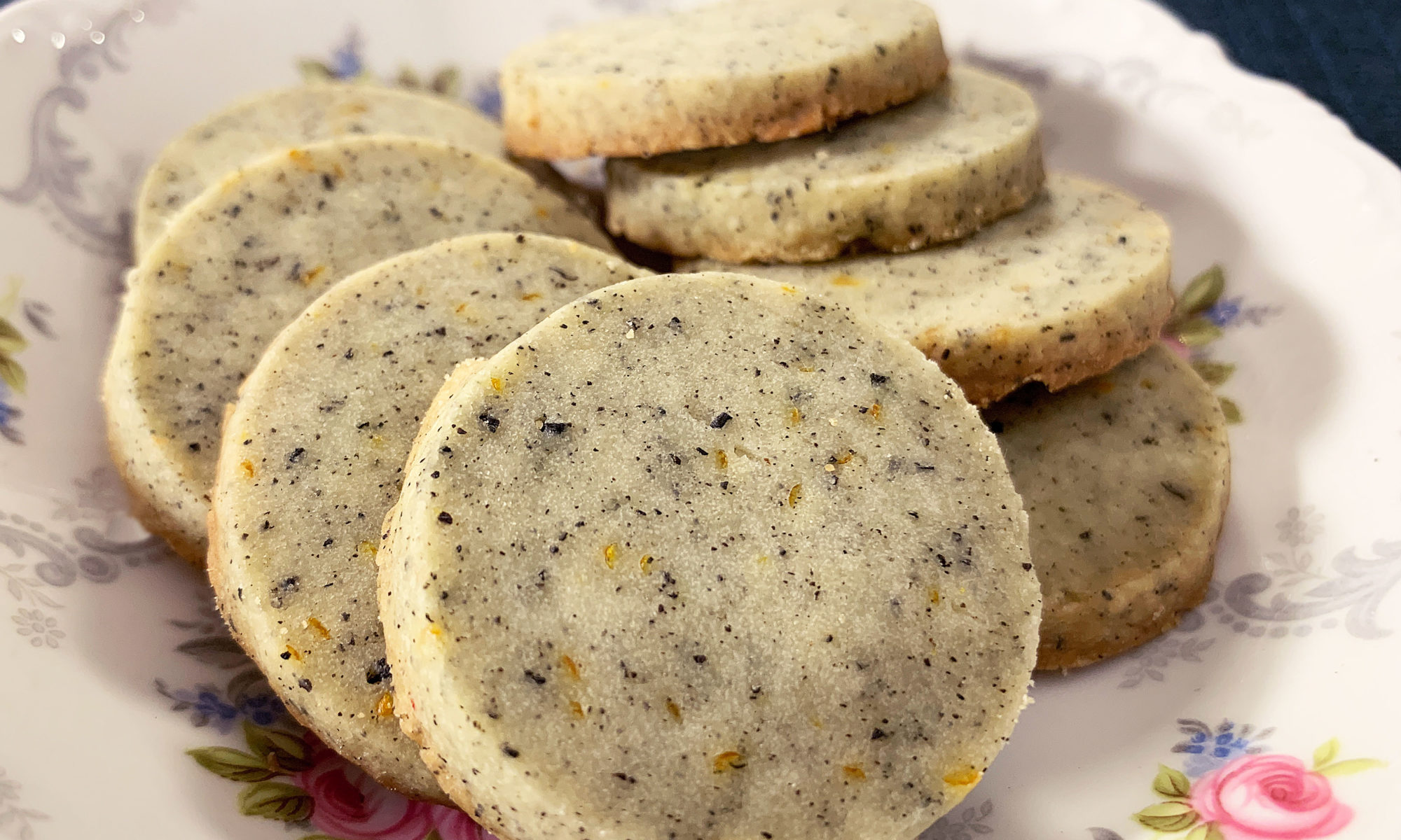 earl grey tea cookies on a fancy plate