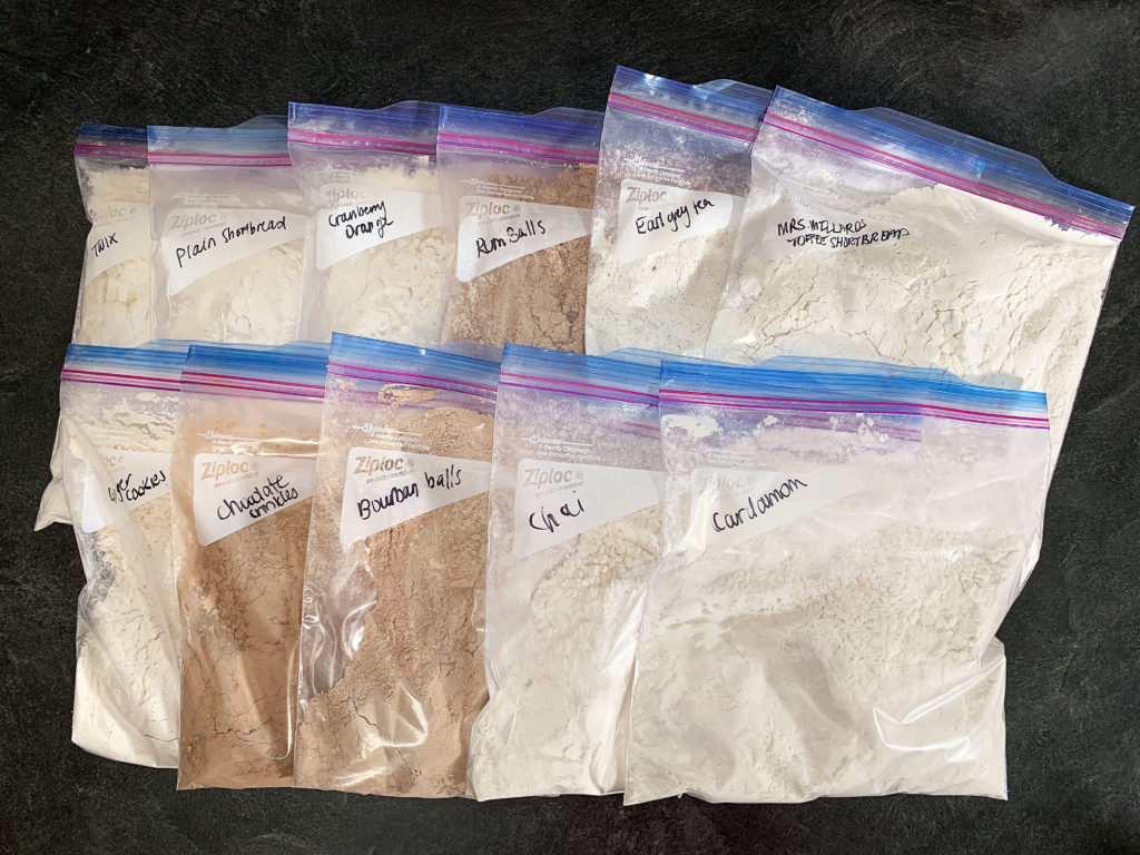 dry ingredients all pre-measured in bags