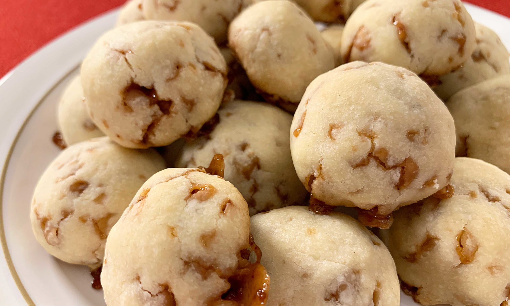 a pile of toffee shortbread cookies
