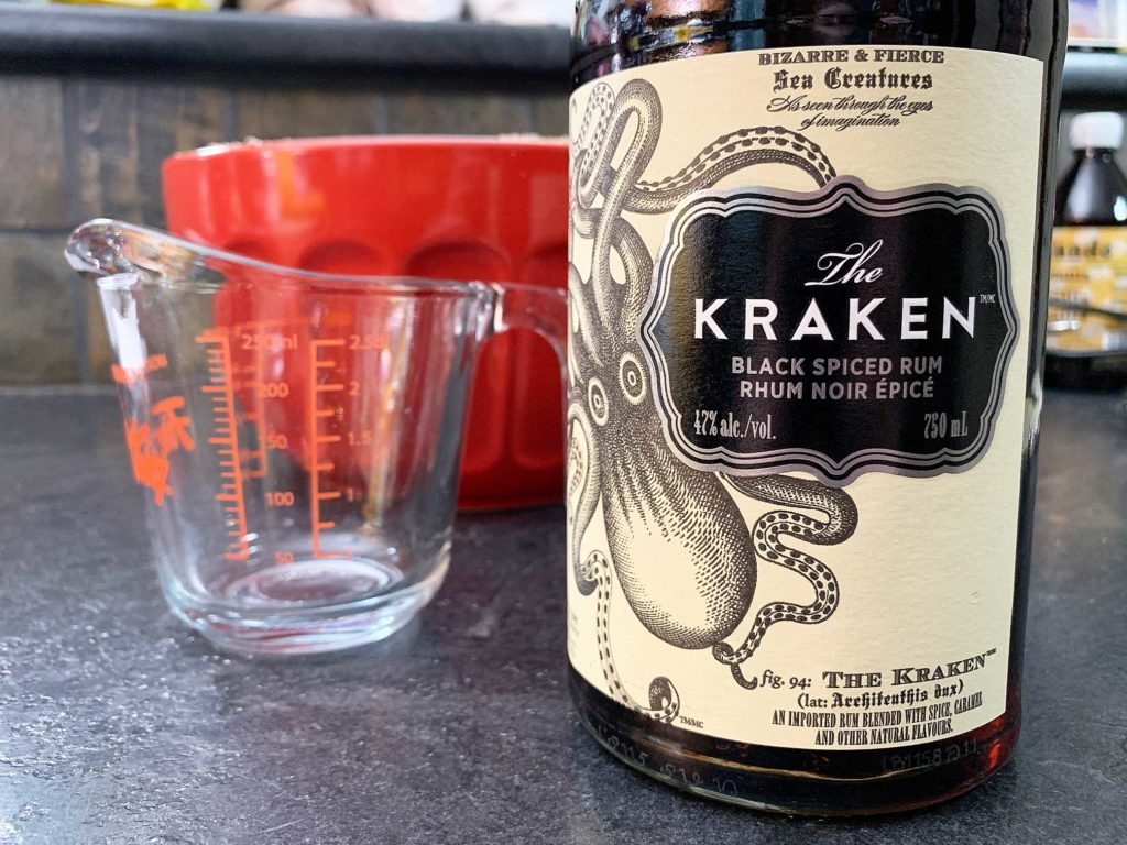 "bottle of ""the kraken"" rum"