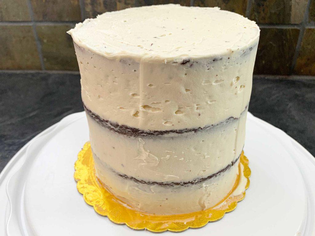 chocolate baileys cake with crumb coat
