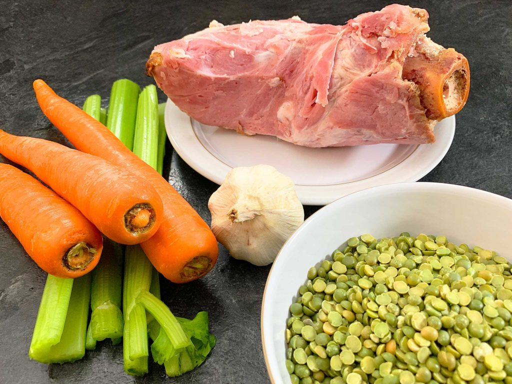 split pea and ham ingredients on the counter