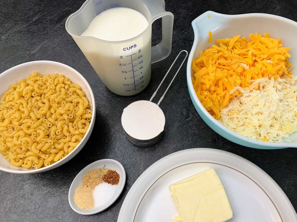 ingredients for the macaroni and cheese