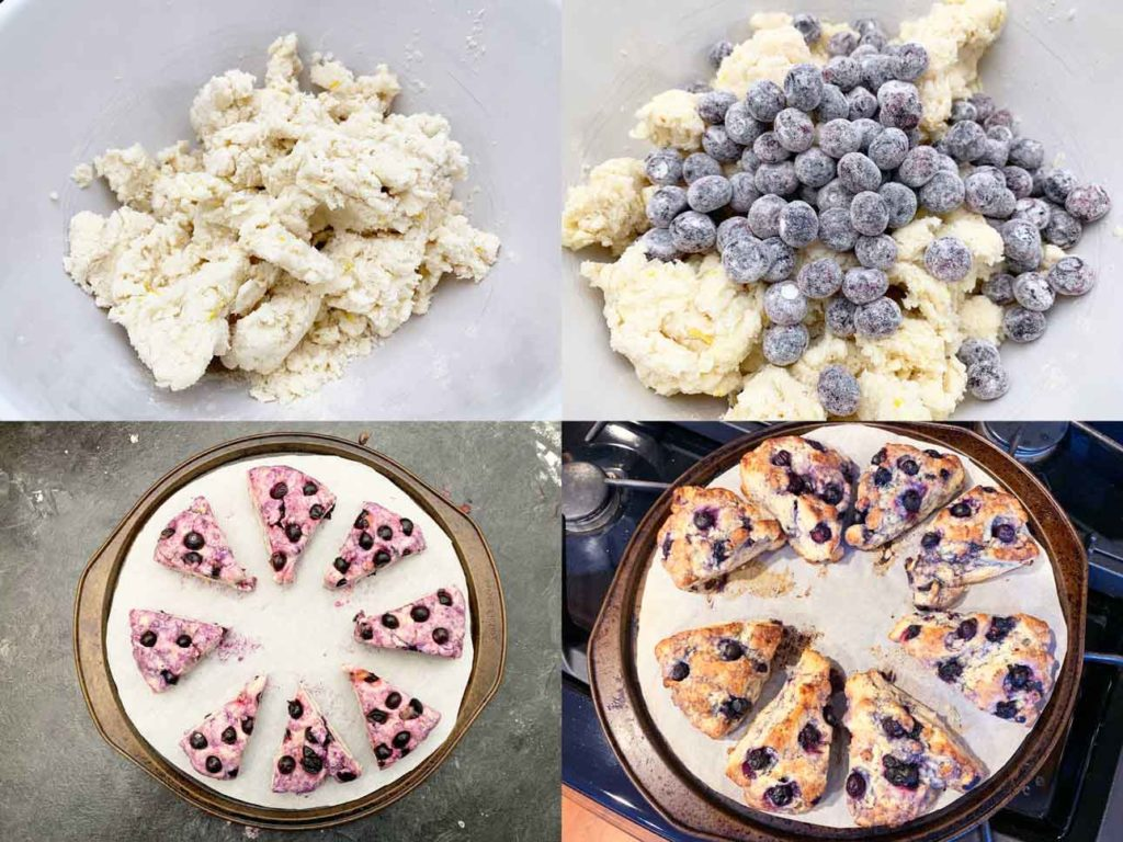 scone attempt 1 - collage of images showing the dough, mixing in the blueberries and the final baked version