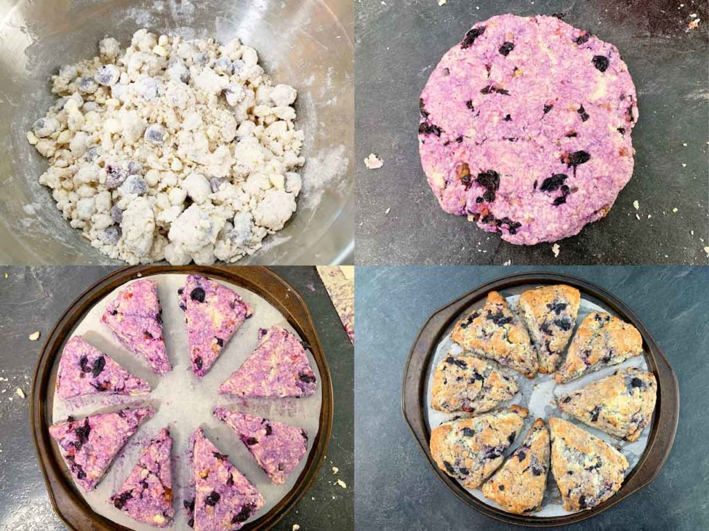 scone attempt 2 - collage of images showing the dough, mixing in the blueberries and the final baked version