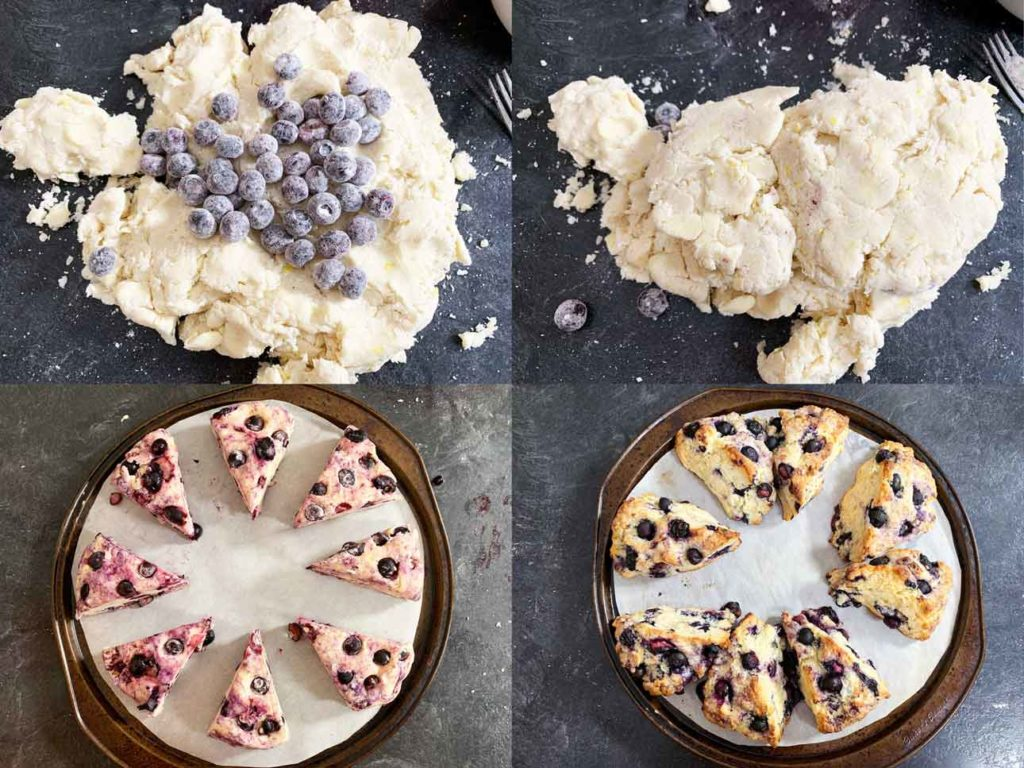 scone attempt 3 - collage of images showing the dough, mixing in the blueberries and the final baked version