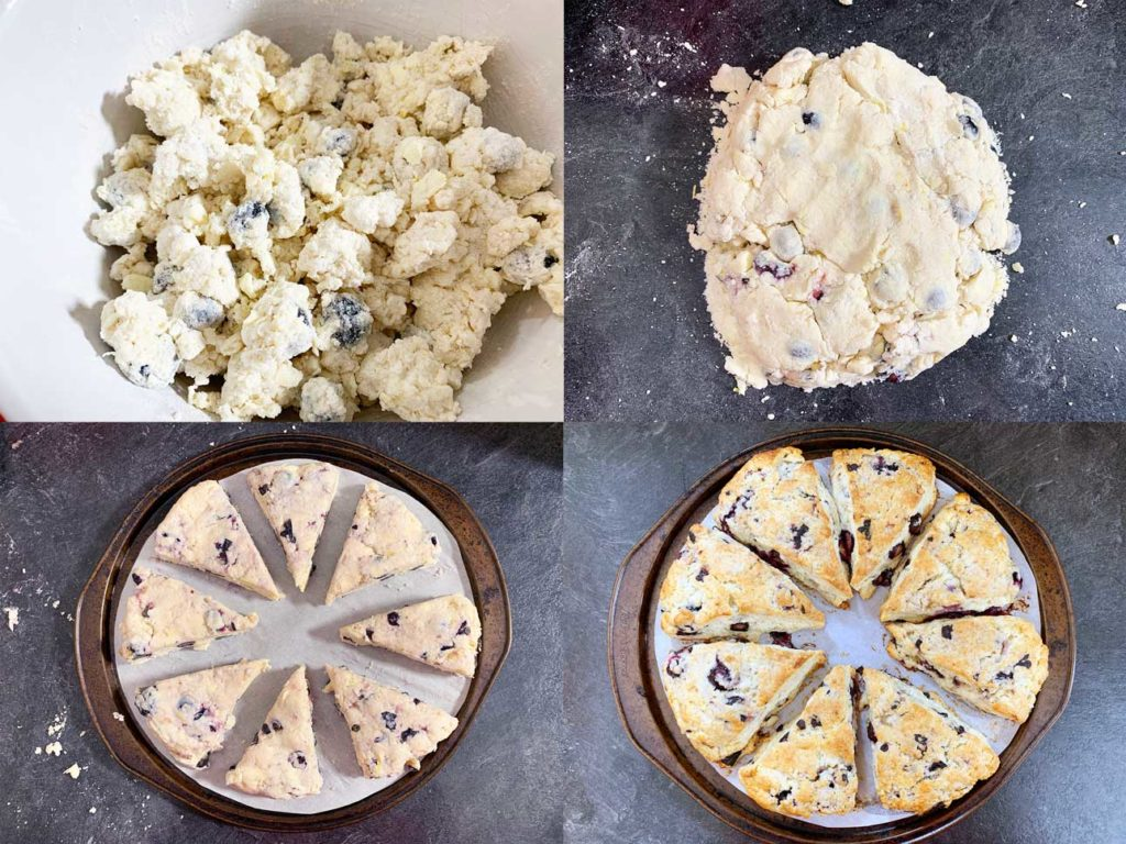 scone attempt 4 - collage of images showing the dough, mixing in the blueberries and the final baked version