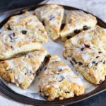 Close up of blueberry lemon scones