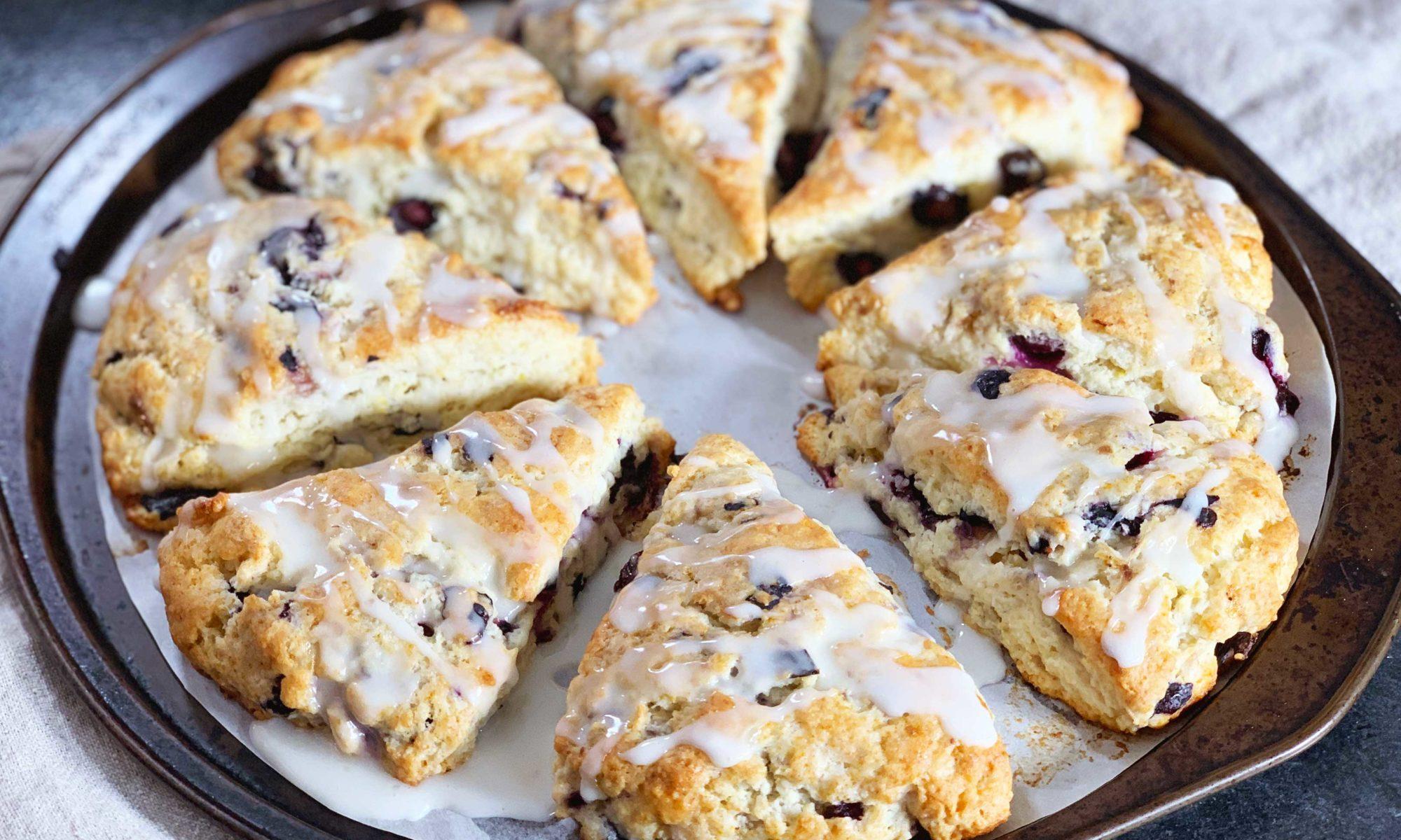 Close up of blueberry lemon scones