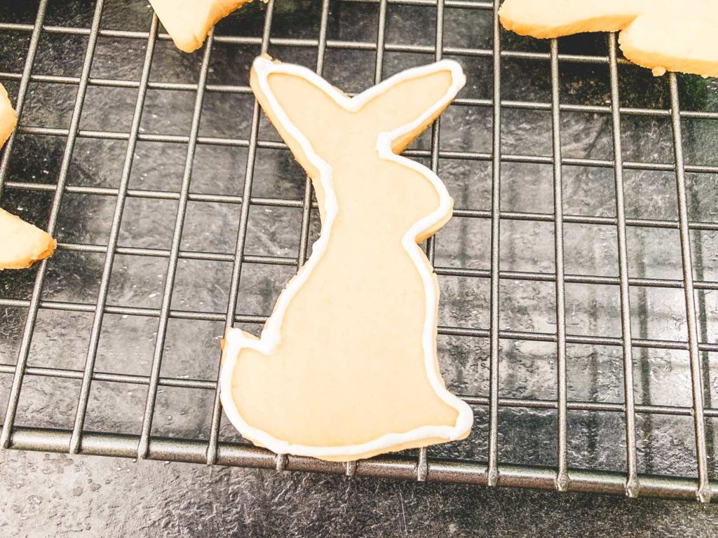 piping the outline of a bunny shape around the edge of the sugar cookie