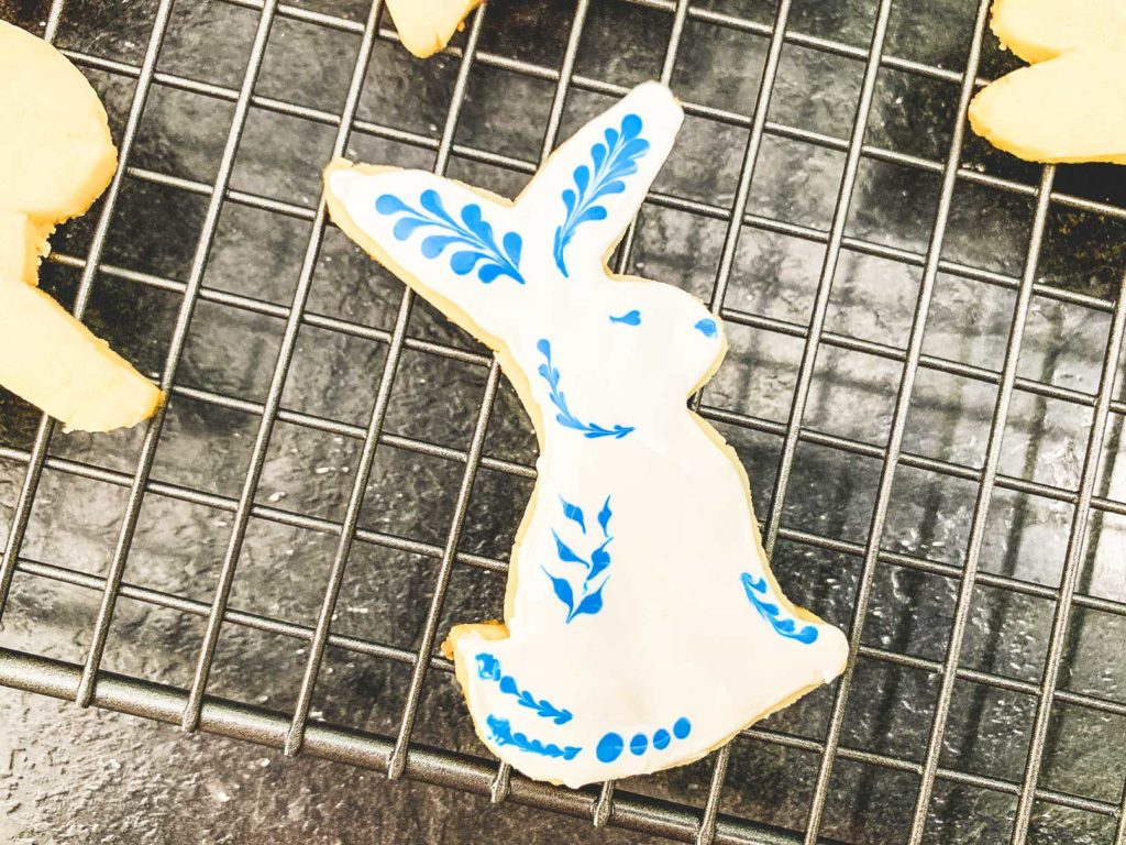 sugar cookie bunny with white and blue frosting