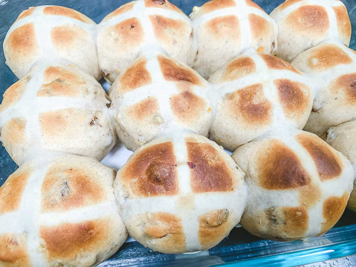 hot cross buns fresh from the oven