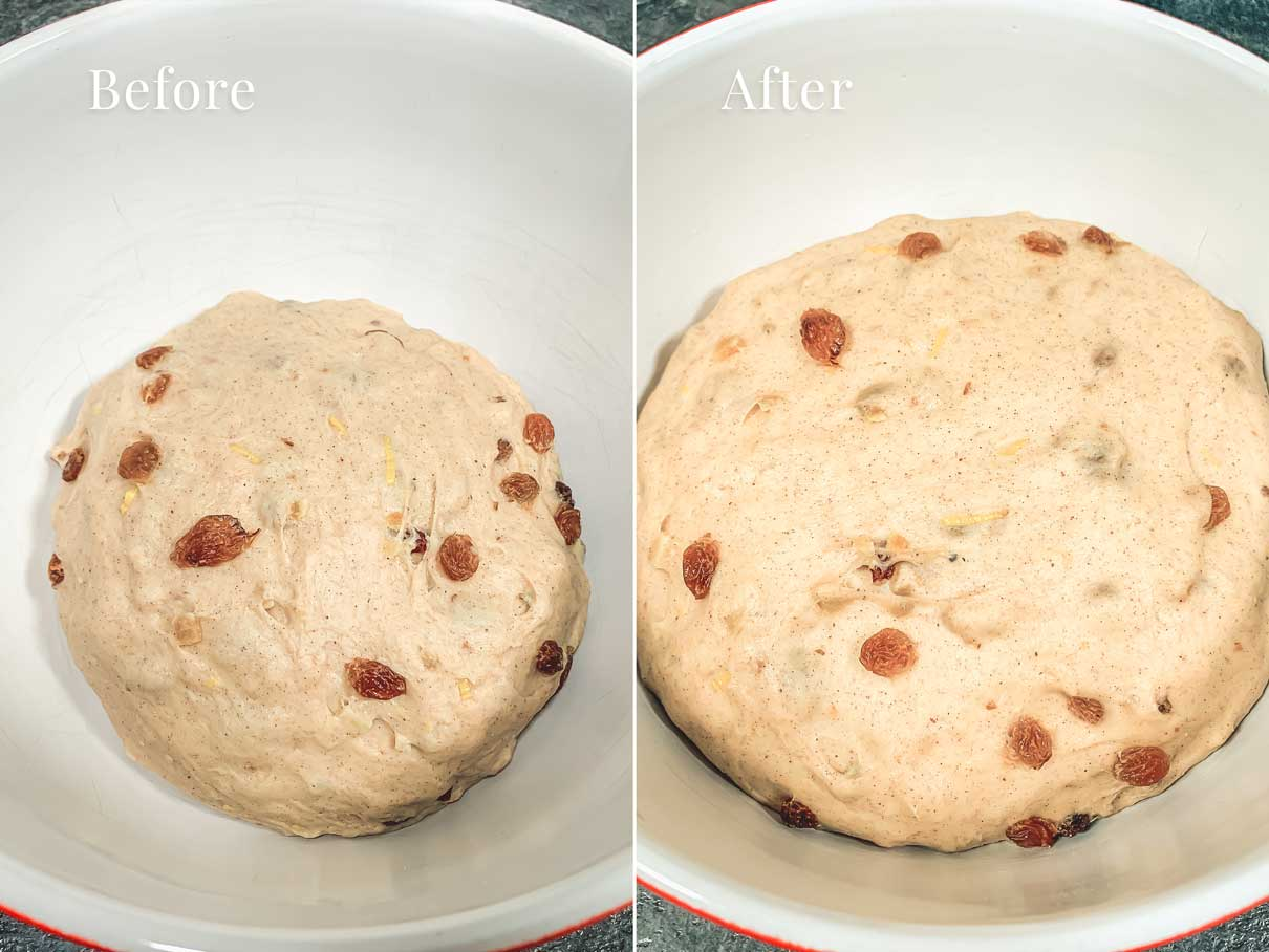 before and after photo of dough in a bowl after being left to rise for an hour