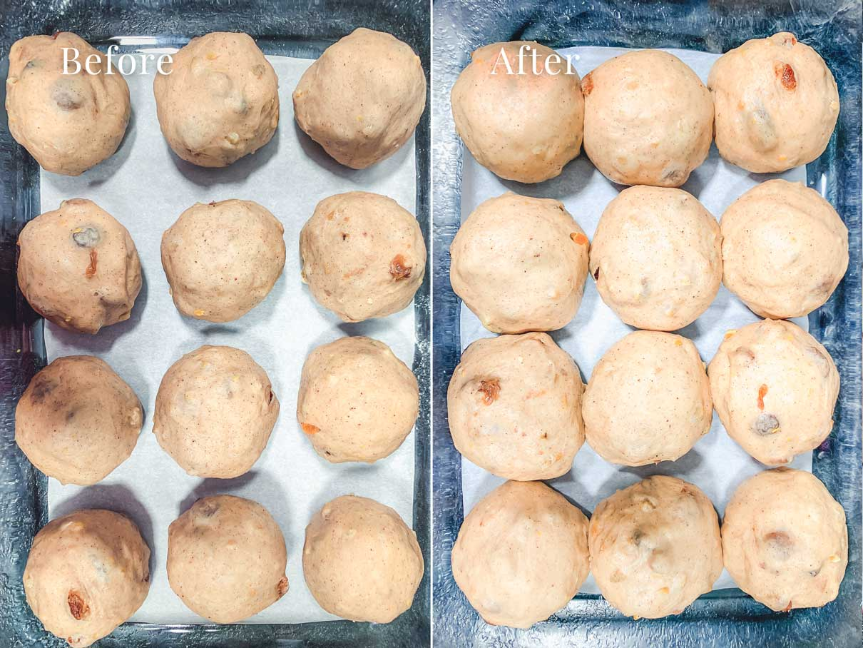 before and after photo of dough balls after being left to rise