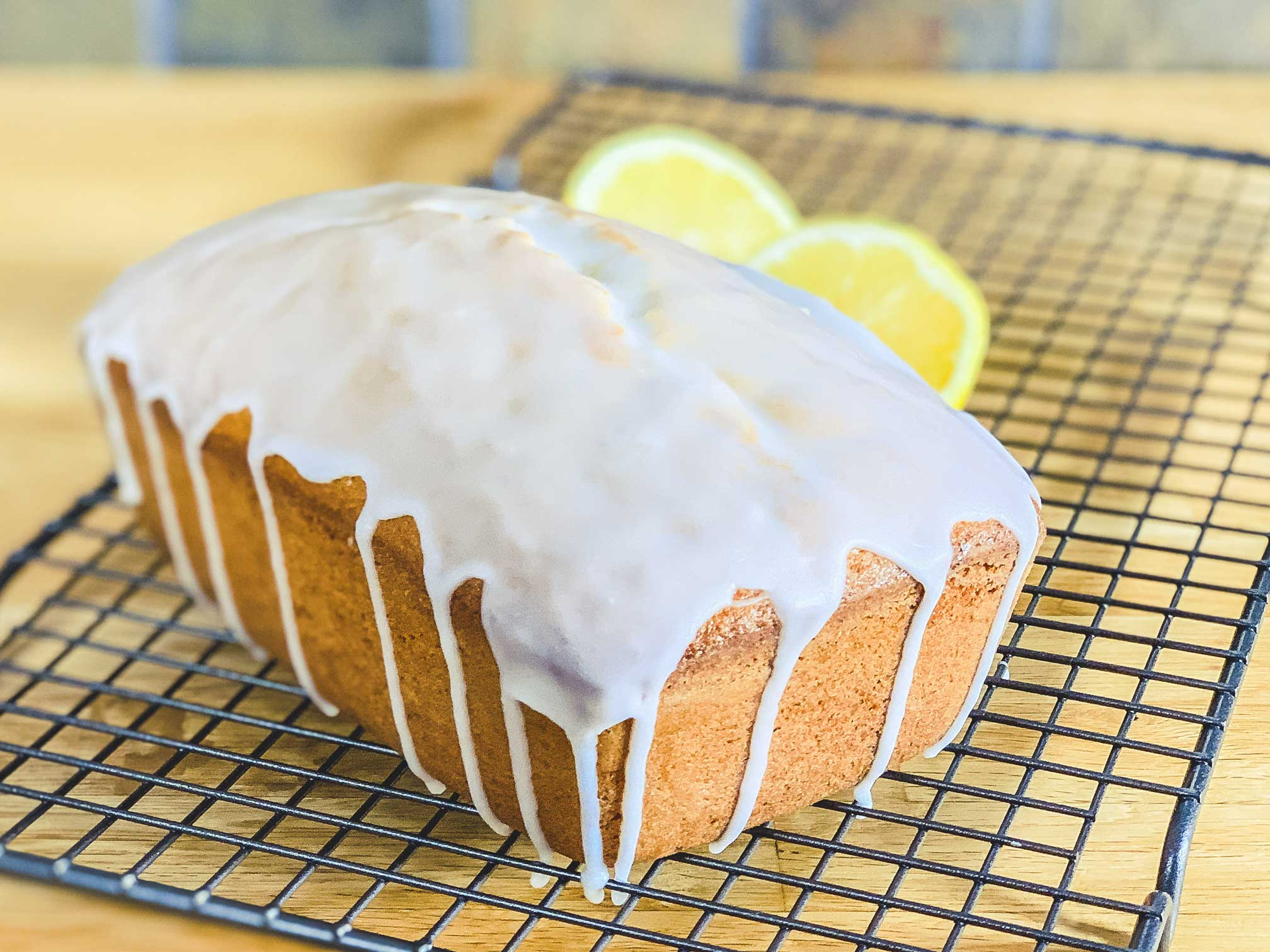 lemon loaf with lemon glaze