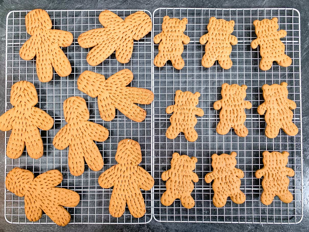 wookie and ewok shaped cookies on cooling rack, fresh from oven