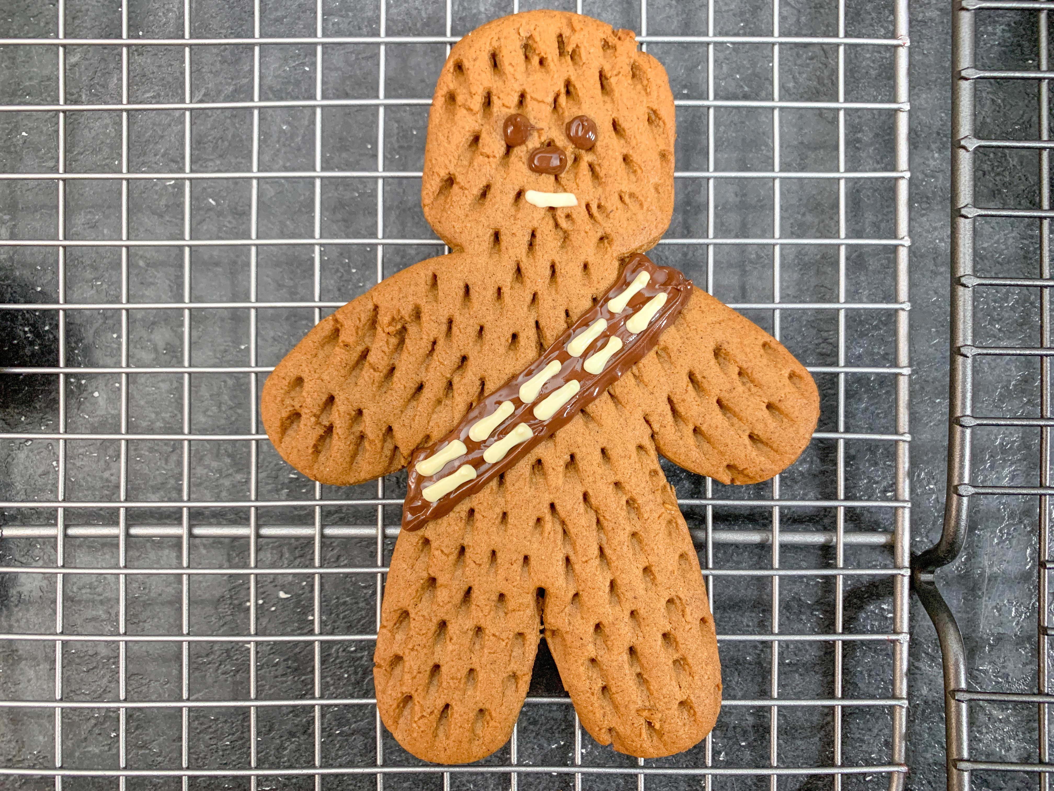 close up of Chewbacca with piped chocolate details