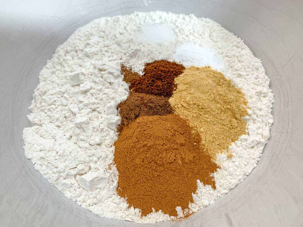 mixing bowl full of flour, baking powder and spices