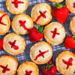 strawberry rhubarb hand pies on a wire cooling rack