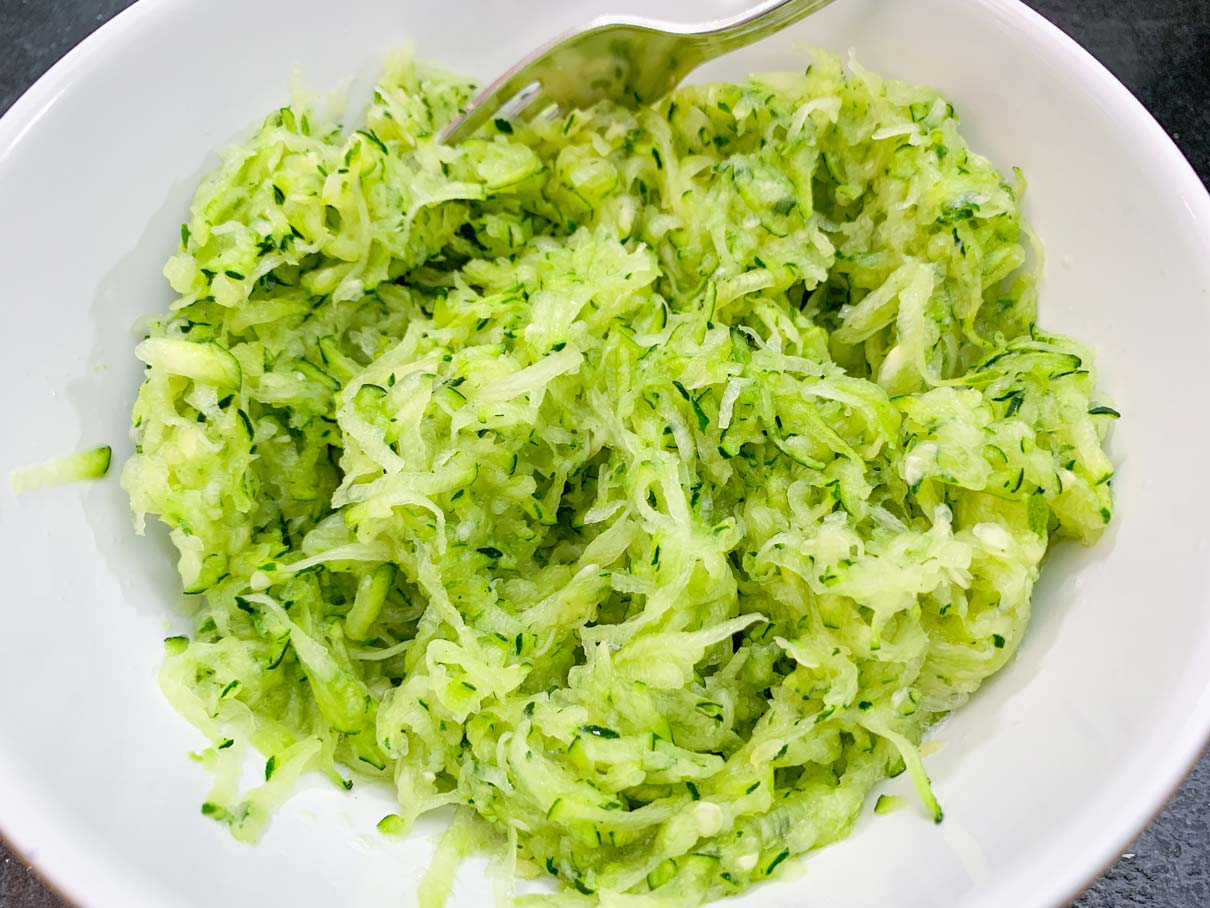 bowl of grated zucchini