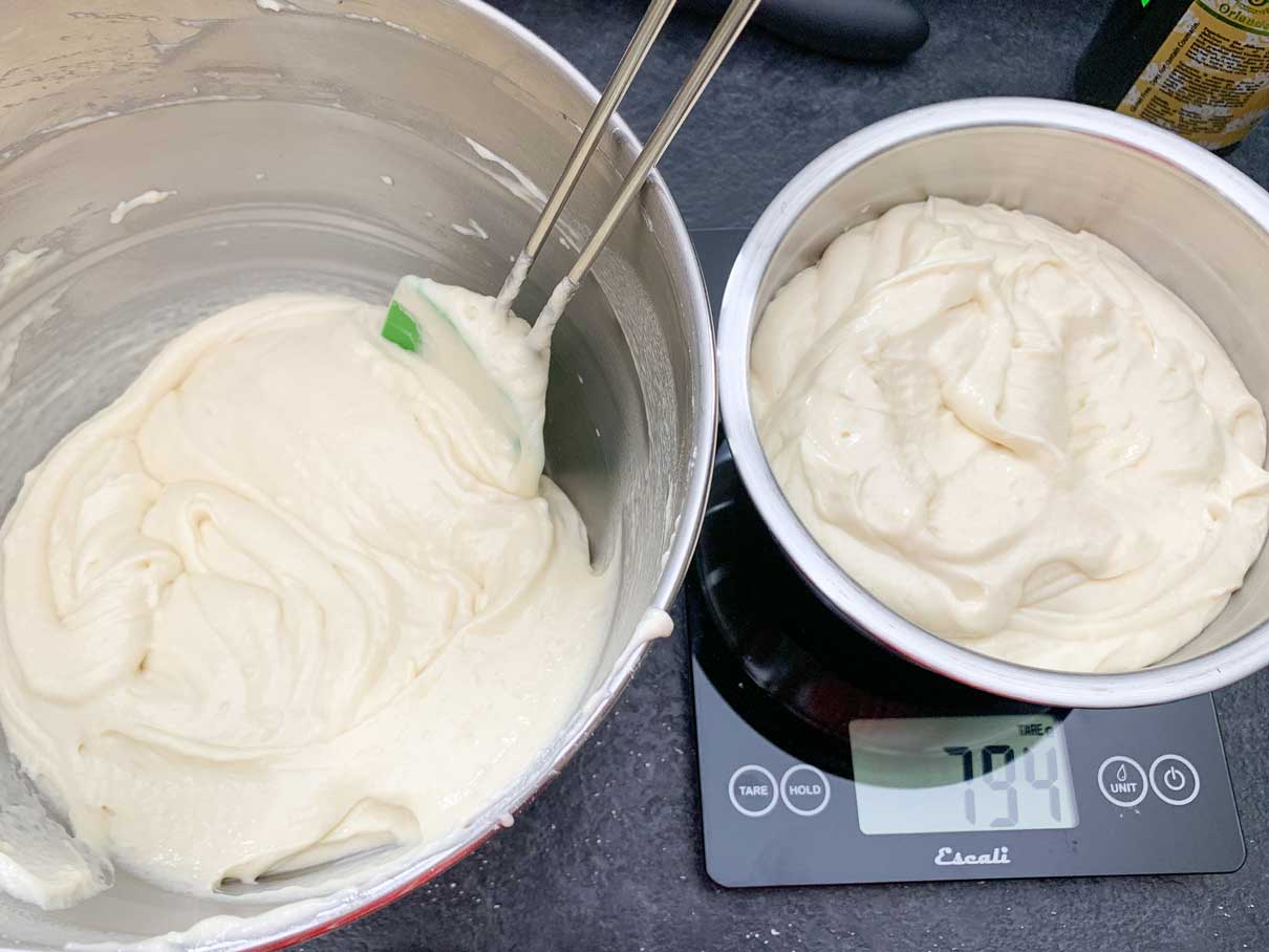 weighing the batter to divide it in half evenly