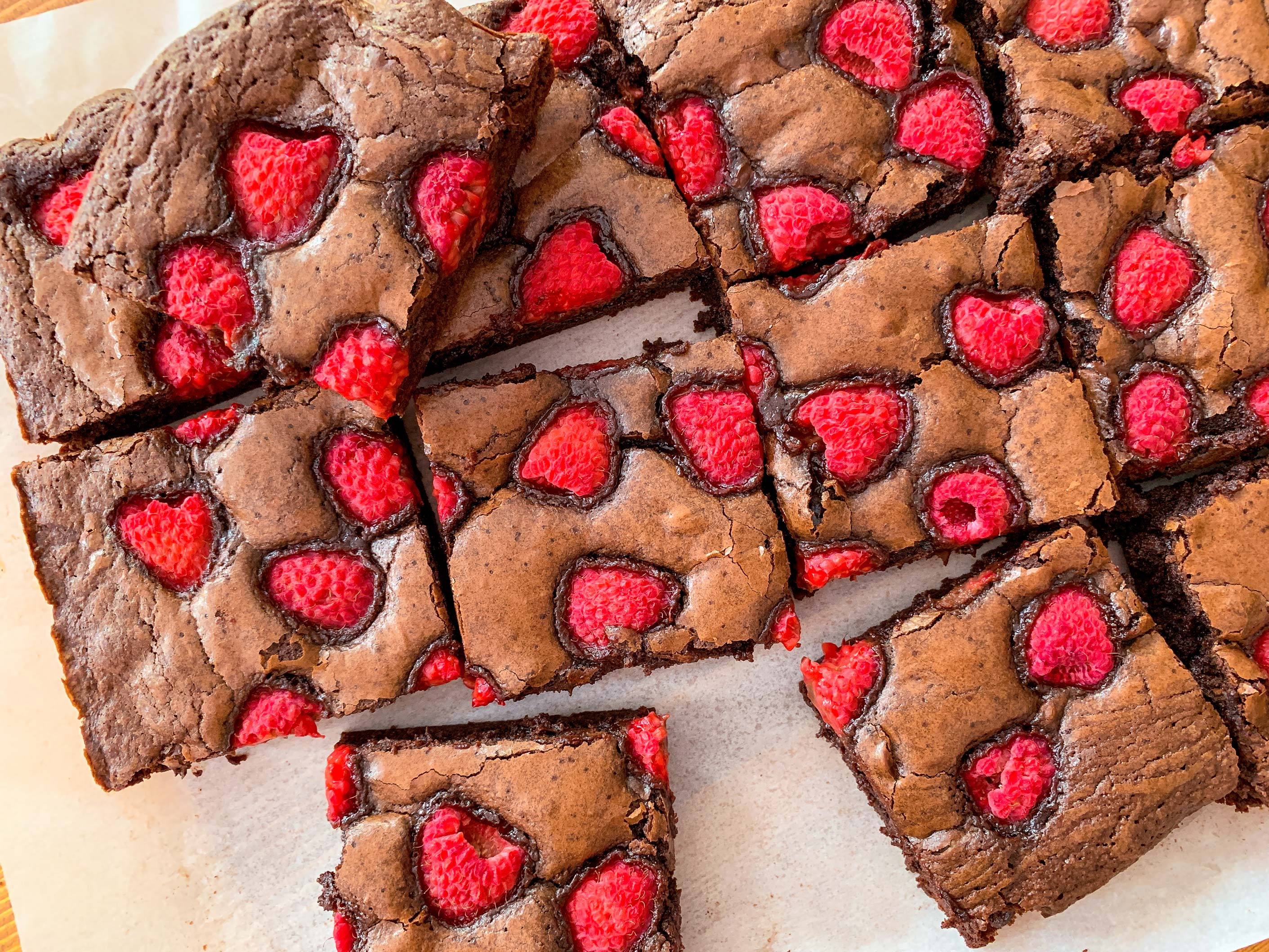 Raspberry chocolate brownies cut into squares