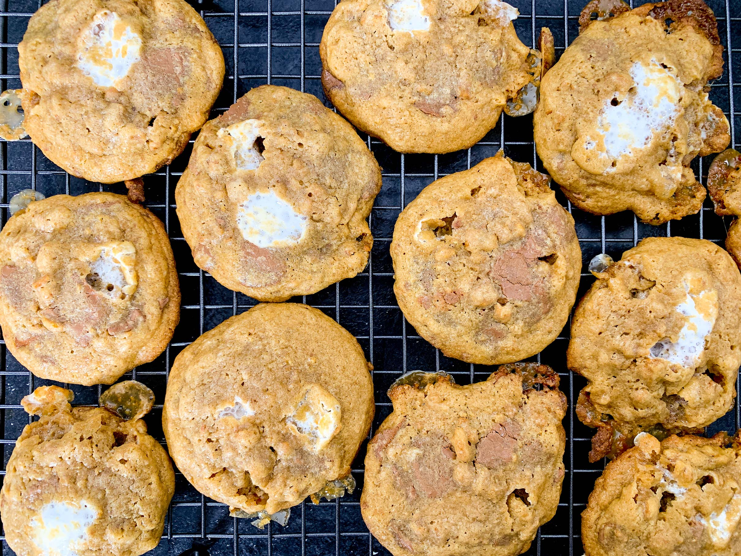 s'mores cookies cooling on a wire rack