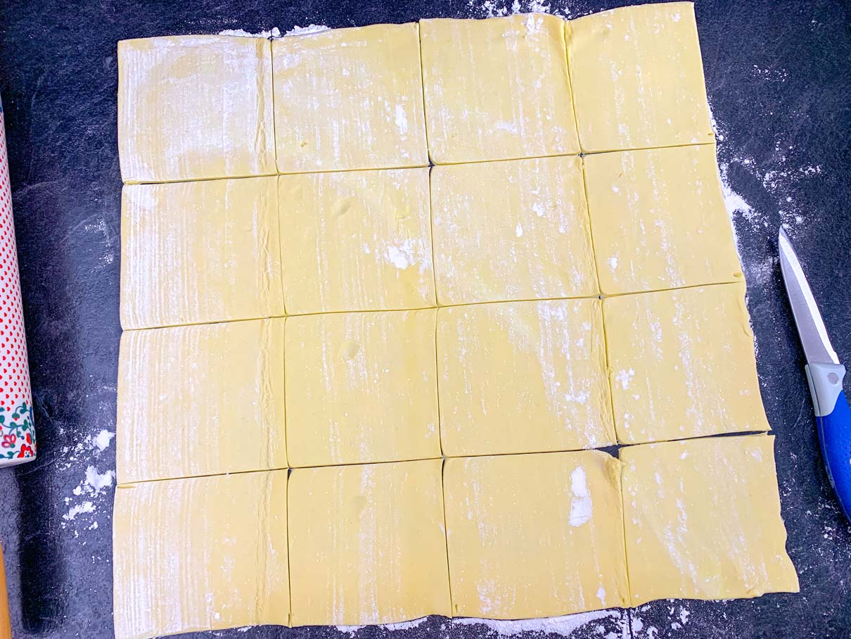 sheet of puff pastry, cut into 16 squares
