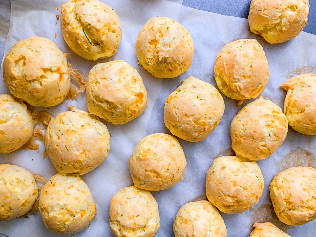 cheddar cheese and dill puffs fresh from the oven