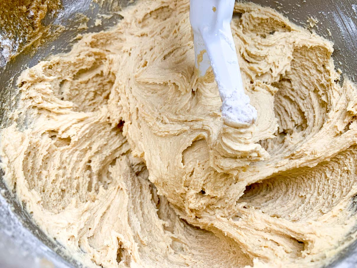 Dry ingredients stirred in to the dough