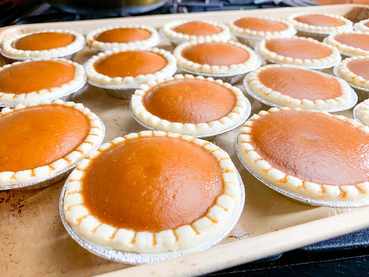 tray of fresh baked mini pumpkin pies, straight from the oven, with puffed tops