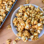 a bowl full of caramel popcorn