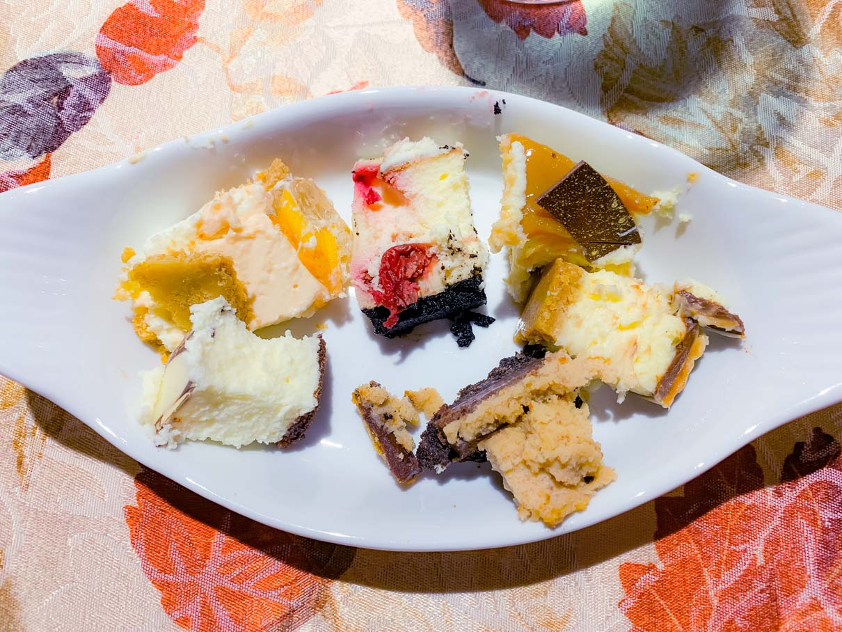 A sampler plate of all the cheesecakes, ready for the contest.