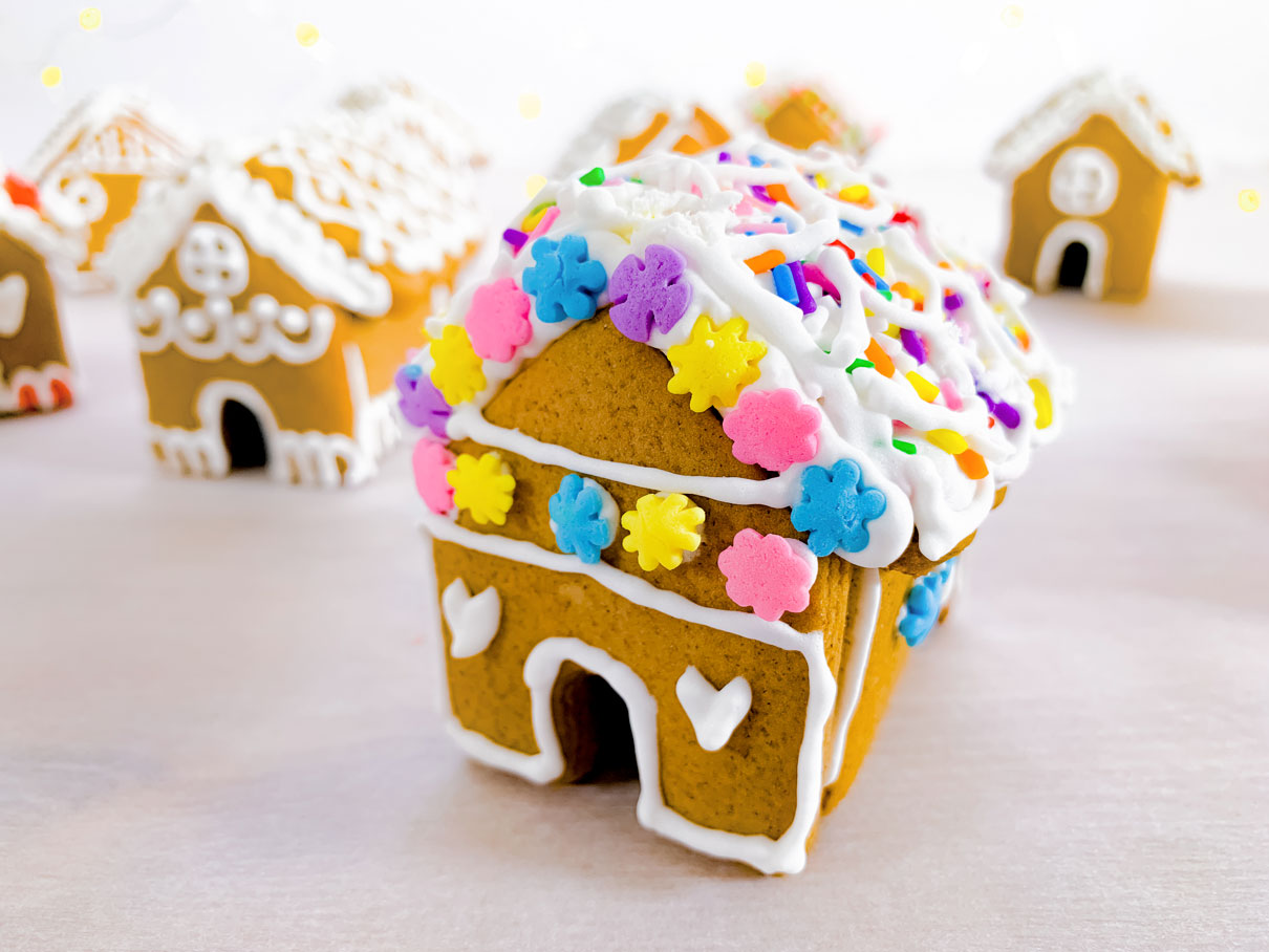 close up of a mini gingerbread house, with a rainbow sprinkle roof, and purple, yellow, pink and blue flower sprinkles stuck to the front