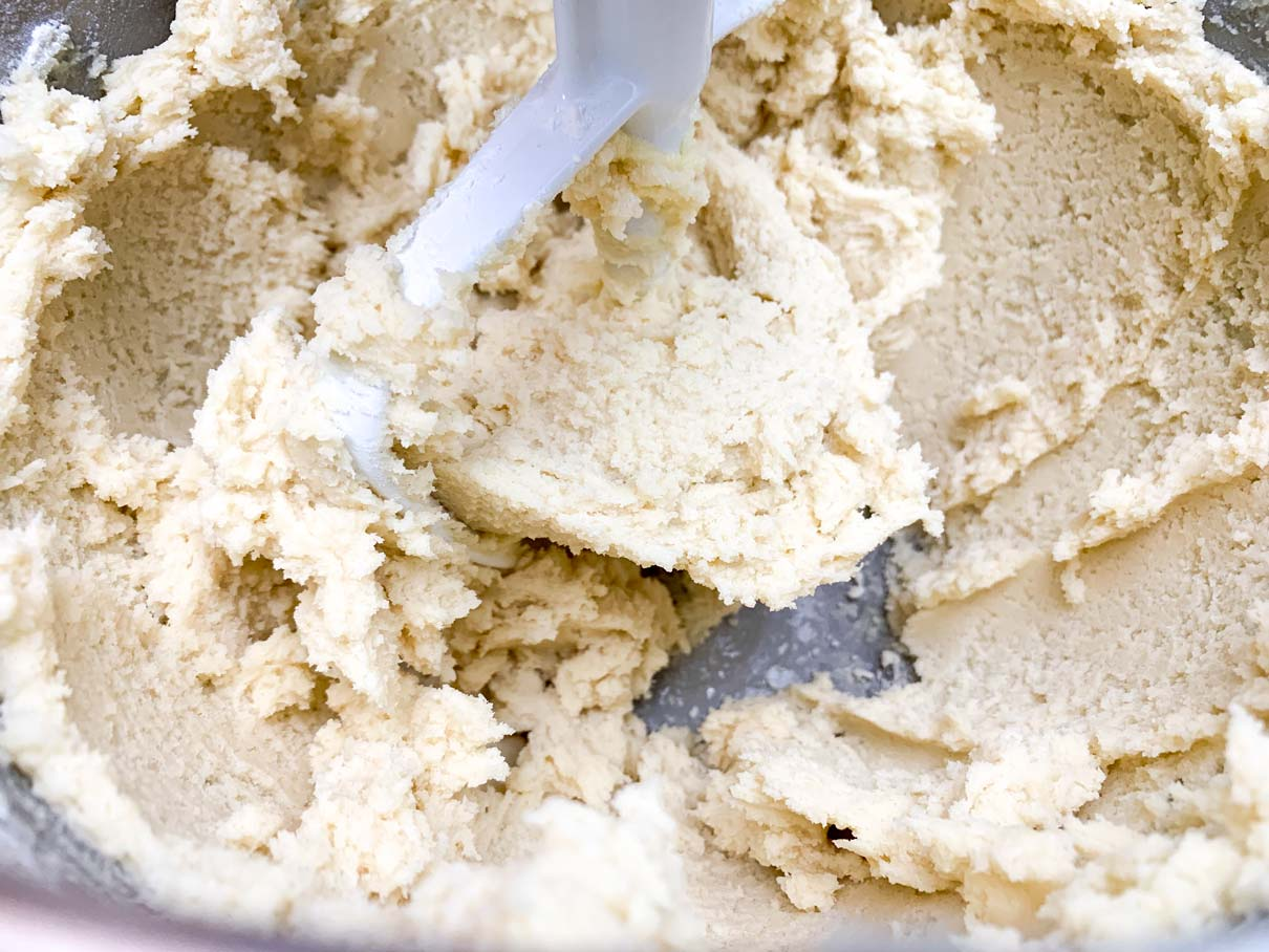 flour mixture mixed into the butter mixture